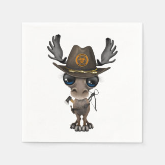 Baby Moose Zombie Hunter Disposable Napkins