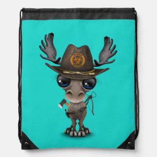 Baby Moose Zombie Hunter Drawstring Bag
