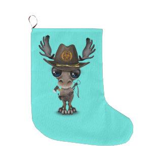 Baby Moose Zombie Hunter Large Christmas Stocking