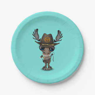 Baby Moose Zombie Hunter Paper Plate