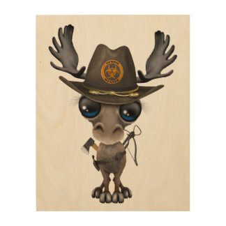 Baby Moose Zombie Hunter Wood Wall Decor