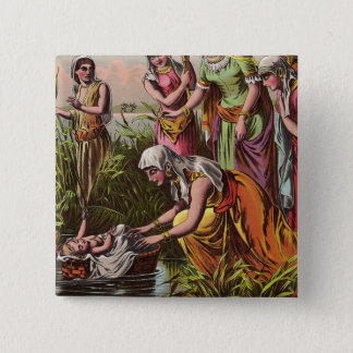 Baby Moses In A Basket 15 Cm Square Badge