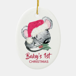 Baby Mouse First Christmas Ceramic Ornament