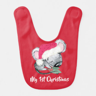 Baby Mouse First Christmas Red Bib