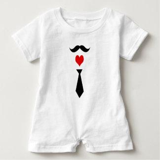 Baby Mustache, tie and heart photo print Romper Baby Bodysuit