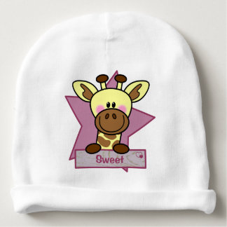 Baby mutsje with giraffe for little girls baby beanie