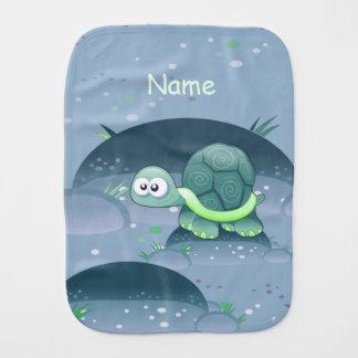 Baby Name Turtle Cute Custom Blue Burp Cloth