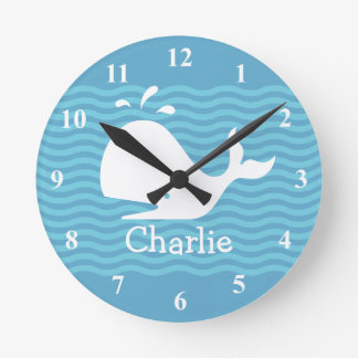 Baby name wall clock with cute whale in wavey sea