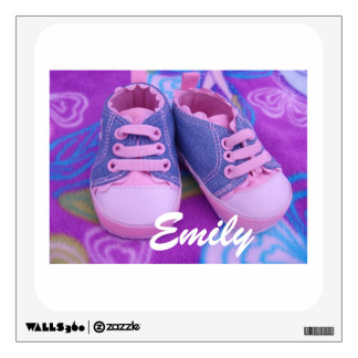 Baby Name wall decals Pink Toddler Shoes custom