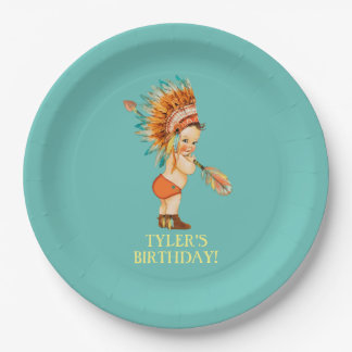 Baby Native Tribal Headdress Moccasins 9 Inch Paper Plate
