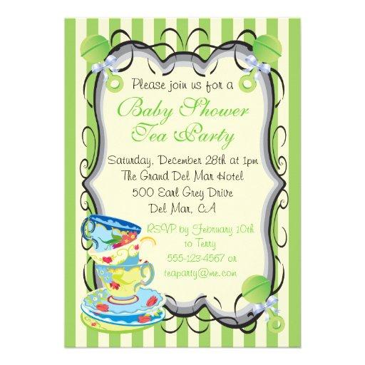 Baby Neutral Shower Victorian Tea Party Invitation