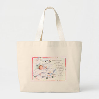 Baby New Year Holly Angel Cherub Large Tote Bag