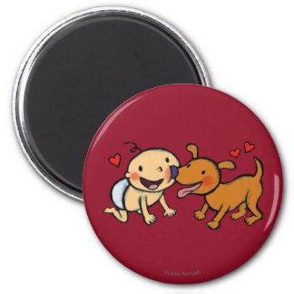 Baby Nose Kisses from the Dog 6 Cm Round Magnet