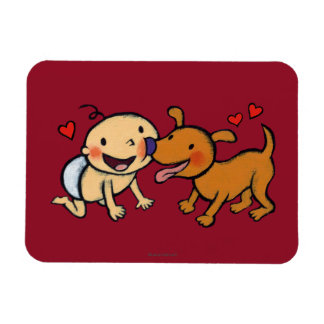 Baby Nose Kisses from the Dog Rectangular Photo Magnet