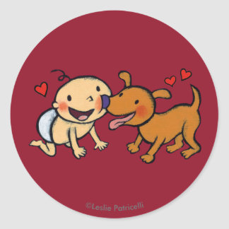 Baby Nose Kisses from the Dog Round Sticker