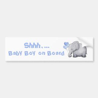 """""""Baby on Board"""" Cute Heart Balloon Elephant Bumper Sticker"""