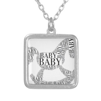 Baby on Rocking Horse Silver Plated Necklace
