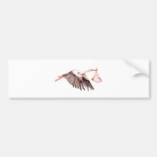 Baby on Stork Bumper Sticker