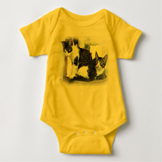 Baby onesy in yellow with kittens baby bodysuit