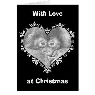 Baby Orangutan Snowflake Heart Christmas Card