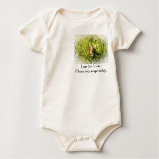 "Baby Organic Bodysuit, Fawn, ""I am the future."" Baby Bodysuit"