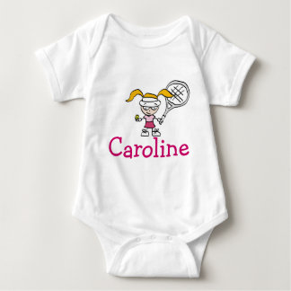 Baby outfit with custom name and tennis cartoon baby bodysuit