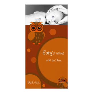 Baby Owl Announcement Customized Photo Card