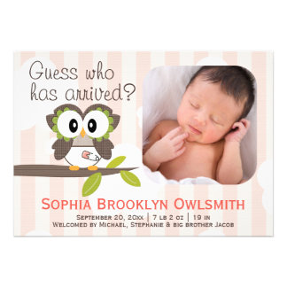 Baby Owl Announcements Girl