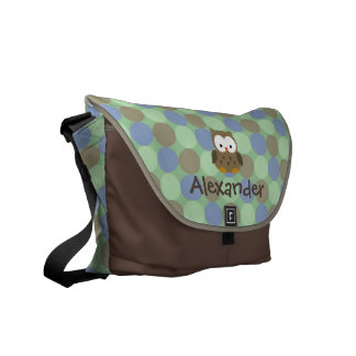 Baby Owl Blue and Brown Custom Name Diaper Tote Commuter Bag