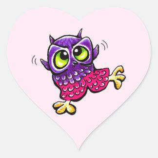 Baby Owl Girl First Flight Heart Sticker