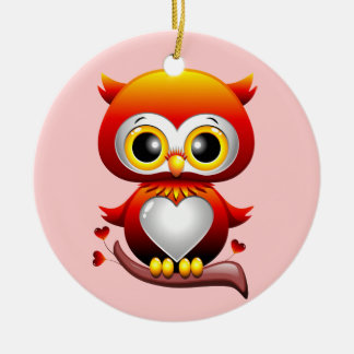 Baby Owl Love Heart Cartoon Ornament