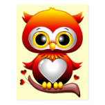 Baby Owl Love Heart Cartoon Postcard