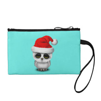 Baby Owl Wearing a Santa Hat Coin Purse