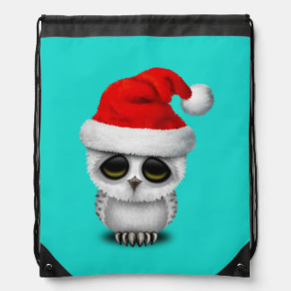 Baby Owl Wearing a Santa Hat Drawstring Bag