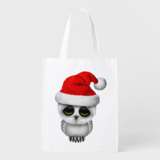 Baby Owl Wearing a Santa Hat Reusable Grocery Bag