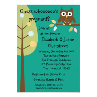 Baby Owl Whoooos Pregnant Green Shower Party Custo Card