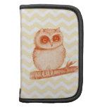 Baby owl yellow white chevron pattern background folio planner