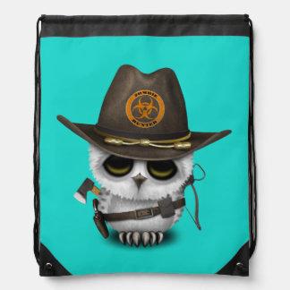 Baby Owl Zombie Hunter Drawstring Bag