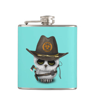 Baby Owl Zombie Hunter Hip Flask