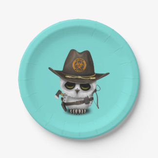 Baby Owl Zombie Hunter Paper Plate