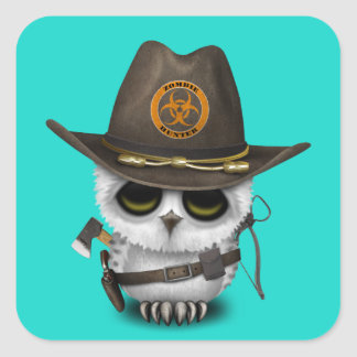 Baby Owl Zombie Hunter Square Sticker