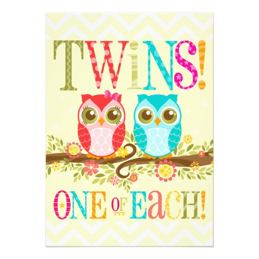 Baby Owls - Boy Girl Twins Baby Shower Invitation