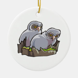 Baby Owls Double-Sided Ceramic Round Christmas Ornament