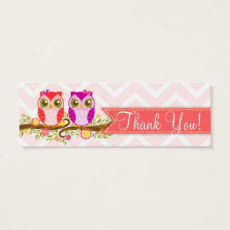 """Baby Owls - Girl Twins Baby Shower """"Thank You"""" Tag Mini Business Card"""