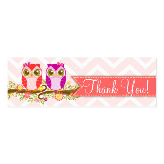 "Baby Owls - Girl Twins Baby Shower ""Thank You"" Tag Pack Of Skinny Business Cards"