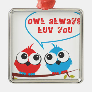 baby owls Silver-Colored square decoration
