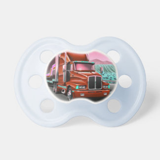 Baby pacifier with an 18 Wheeler Freight Truck.