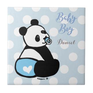 Baby Panda Baby Boy in Blue Diaper Tile