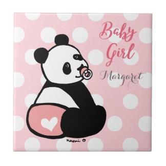 Baby Panda Baby Girl in Pink Diaper Tile