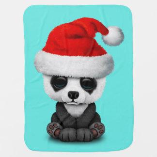 Baby Panda Bear Wearing a Santa Hat Baby Blanket